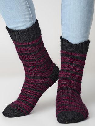 Black-Pink Hand-knitted Wool Socks