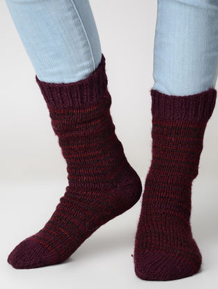 Maroon-Red Hand-knitted Wool Socks
