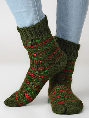 Green-Red Hand-knitted Wool Socks