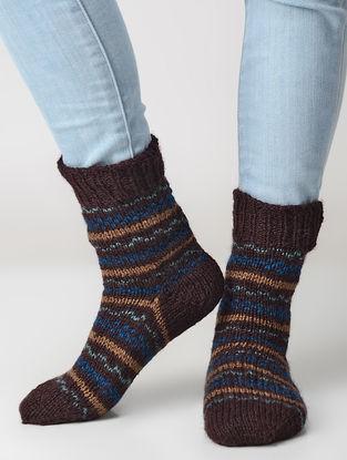 Maroon-Beige Hand-knitted Wool Socks
