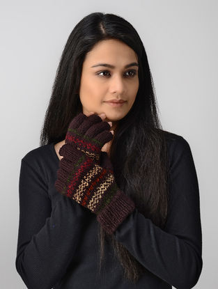 Maroon-Ivory Hand-knitted Wool Gloves