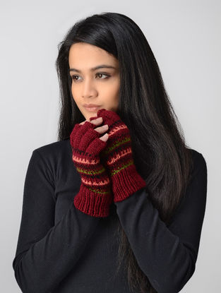 Red-Green Hand-knitted Wool Gloves