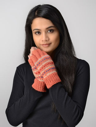 Pink-Ivory Hand-knitted Wool Gloves