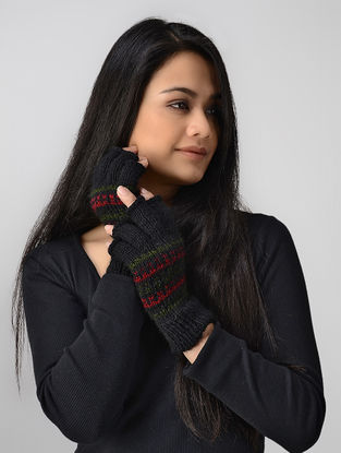 Black-Green Hand-knitted Wool Gloves