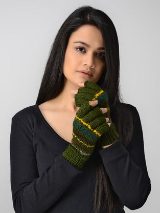 Green-Yellow Hand-knitted Wool Gloves