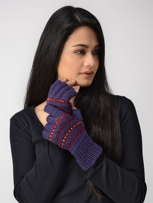 Purple-Red Hand-knitted Wool Gloves