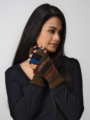 Olive-Blue Hand-knitted Wool Gloves