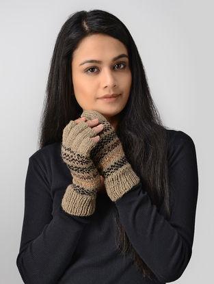 Beige-Maroon Hand-knitted Wool Gloves
