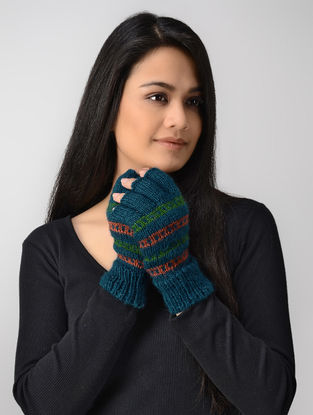 Blue-Green Hand-knitted Wool Gloves