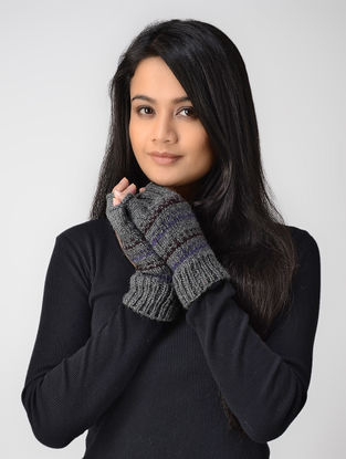 Grey-Purple Hand-knitted Wool Gloves