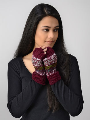 Maroon-White Hand-knitted Wool Gloves