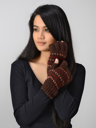 Brown-Red Hand-knitted Wool Gloves