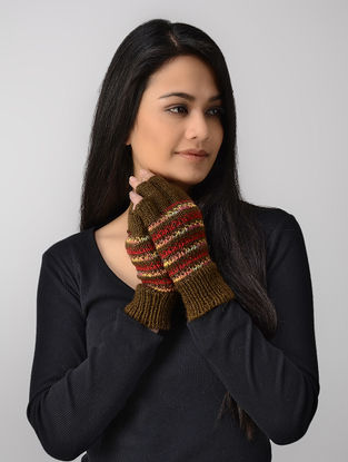 Olive-Red Hand-knitted Wool Gloves