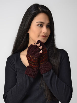 Maroon Hand-knitted Wool Gloves