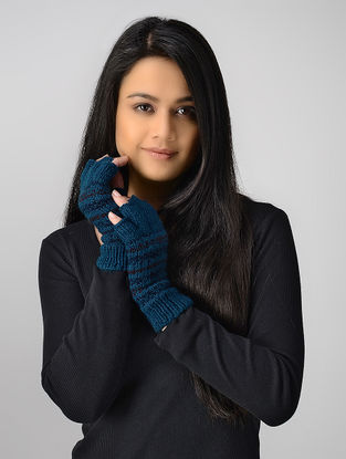Blue Hand-knitted Wool Gloves