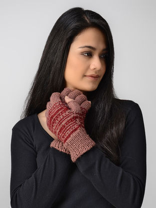 Pink-Red Hand-knitted Wool Gloves