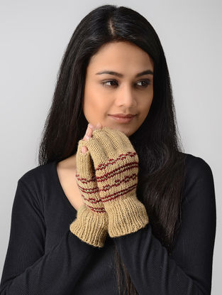 Beige-Red Hand-knitted Wool Gloves