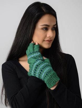 Green-Blue Hand-knitted Wool Gloves