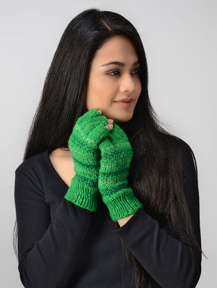 Green Hand-knitted Wool Gloves
