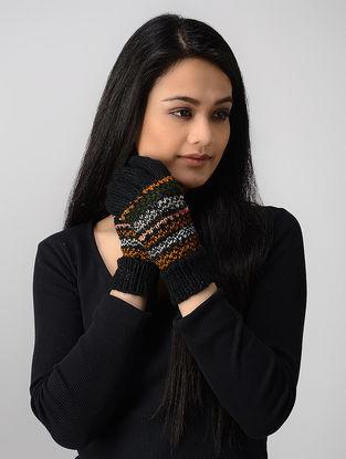 Black-Mustard Hand-knitted Wool Gloves