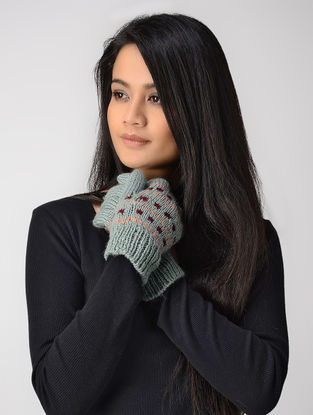 Sea Green Hand-knitted Wool Gloves