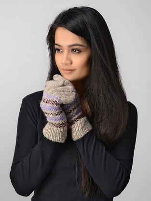 Ivory-Purple Hand-knitted Wool Gloves