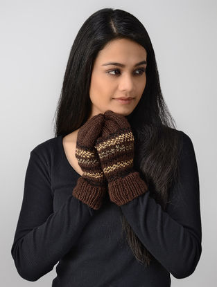Brown-Yellow Hand-knitted Wool Gloves