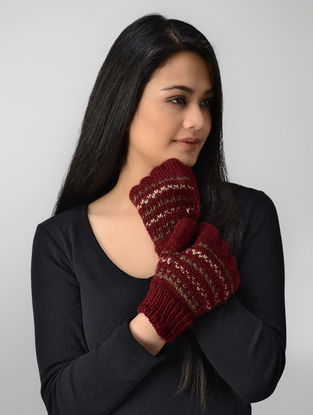 Red Hand-knitted Wool Gloves