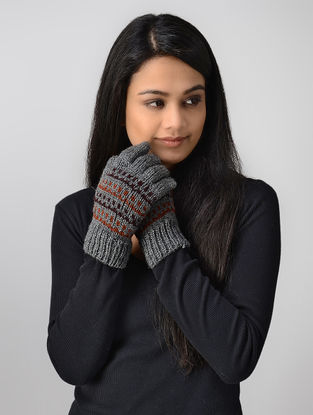 Grey Hand-knitted Wool Gloves