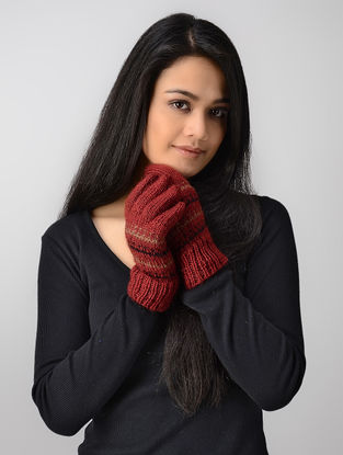 Pink-Beige Hand-knitted Wool Gloves