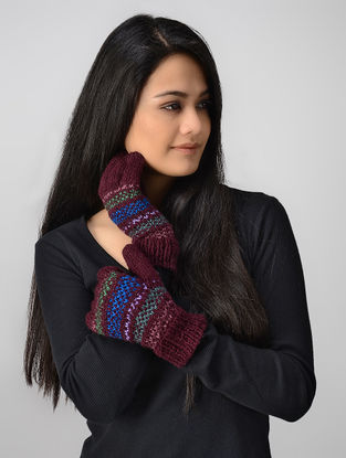Maroon-Blue Hand-knitted Wool Gloves