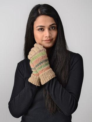 Beige-Green Hand-knitted Wool Gloves