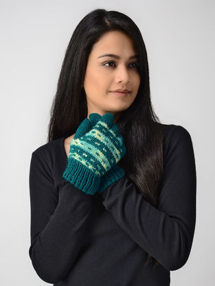 Teal-Yellow Hand-knitted Wool Gloves
