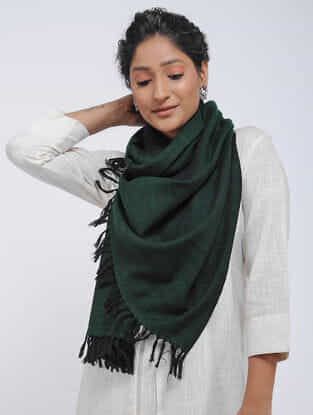 Green Merino Wool Stole