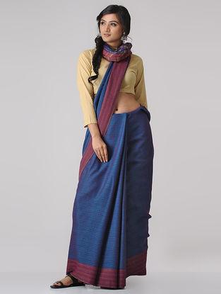 Blue-Pink Merino Wool Saree