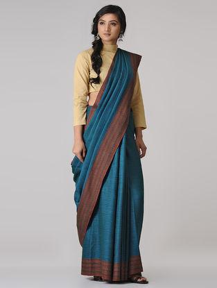 Blue- Brown Merino Wool Saree