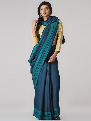 Blue-Green Merino Wool Saree