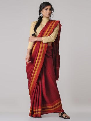 Red-Yellow Merino Wool Saree