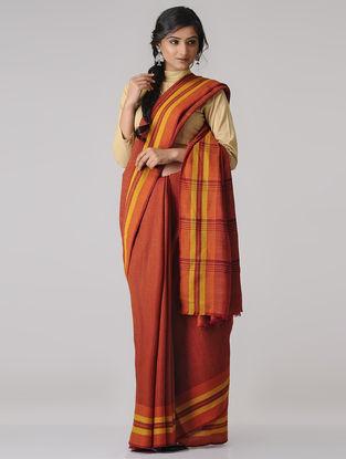 Orange-Yellow Merino Wool Saree