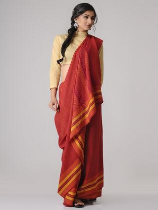 Red-Orange Merino Wool Saree