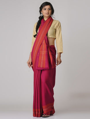 Pink-Red Merino Wool Saree