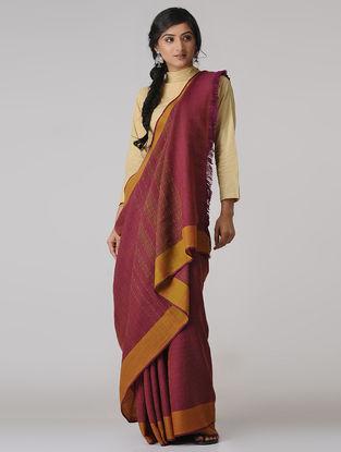 Pink-Mustard Merino Wool Saree