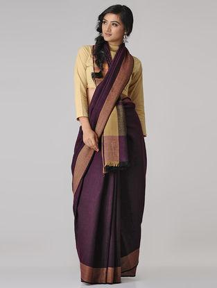 Purple-Beige Merino Wool Saree