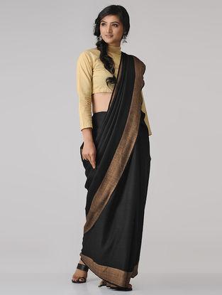Black-Beige Merino Wool Saree