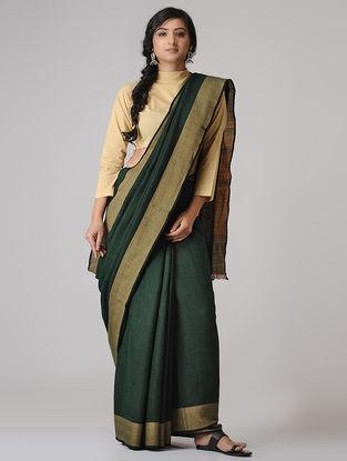 Green-Beige Merino Wool Saree