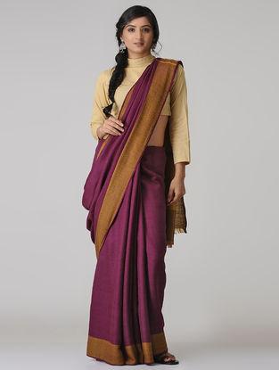 Pink Wool-Silk Saree