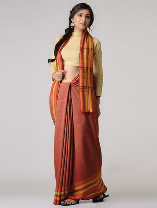 Red-Yellow Wool-Silk Saree
