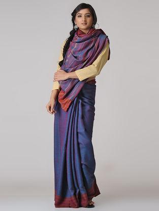 Blue-Red Wool-Silk Saree