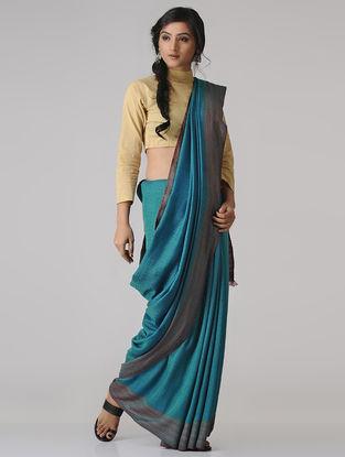 Blue Wool-Silk Saree