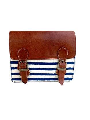 Tan-Indigo Dabu Hand-Printed Cotton and Leather Sling Bag
